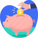 bank, coin, hand, invest, money, piggy, savings icon