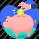 bank, coin, hand, invest, money, piggy, savings