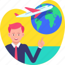 airplane, business, flight, tour, transport, travel, world icon