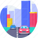 building, car, city, driving, office, road, transport icon