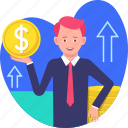 business, chart, coin, dollar, finance, growth, incomes, sale, stack icon