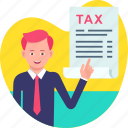 business, business tax, man, payer, tax icon