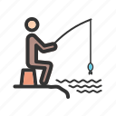 caught, fish, fisherman, fishing, freshwater, hook icon