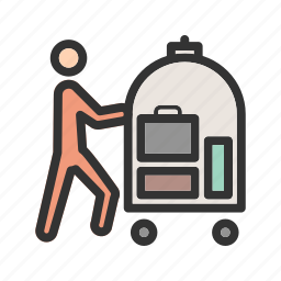 bellhop, cart, doorman, hospitality, hotel, luggage, service icon