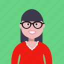 account, avatar, four-eyes, girl, glasses, lady, profile, student icon