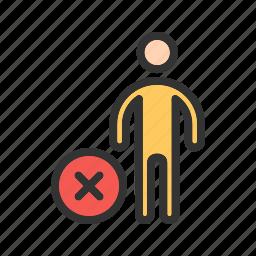 cancel, people, profile, remove, sign, user, web icon
