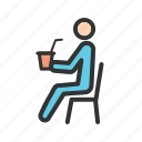 bottle, drink, drinking, people, sitting, soda, summer icon