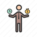 balance, business, happy, money, success, time, worker icon
