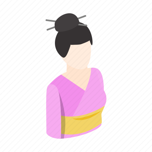 brunette, female, isometric, japan, kimono, traditional, woman icon