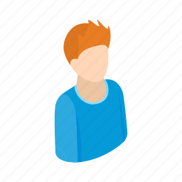adult, casual, isometric, male, man, men, red icon
