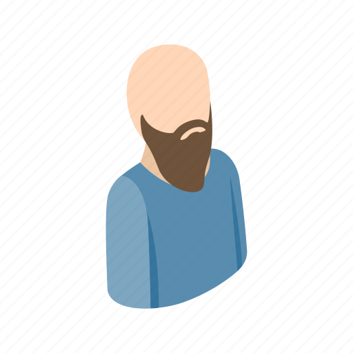 adult, bald, beard, isometric, male, man, men icon