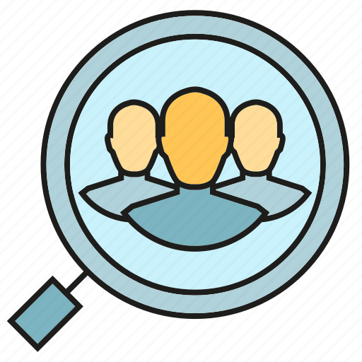 human resource, magnifier, people, recruitment, search, team icon