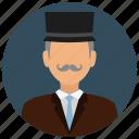 business, hat, man, mustache, old, people, gentleman