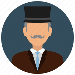 business, gentleman, hat, man, mustache, old, people icon