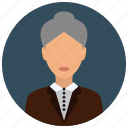 business, woman, jacket, senior, old icon