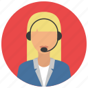 business, headset, people, support, woman icon