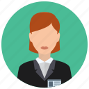 business, associate, woman, jacket, clerk, name tag icon