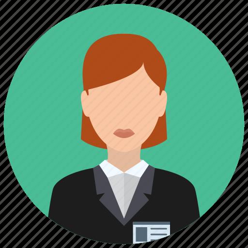 associate, business, clerk, jacket, people, woman icon