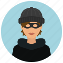 avatar, burglar, crime, protection, thief, woman icon