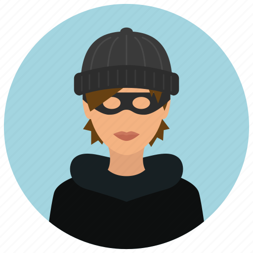avatar, burglar, crime, protection, thief, woman icon