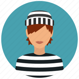 avatar, crime, criminal, prisoner, protection, thief, woman icon