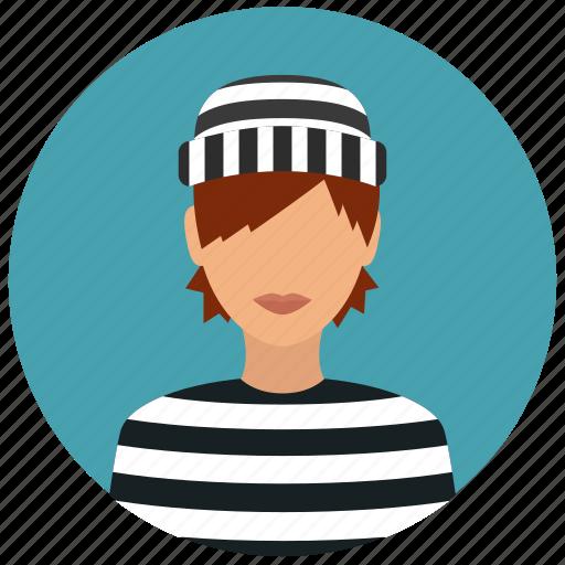 avatar, crime, criminal, prisoner, protection, thief, woman icon