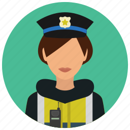 avatar, crime, officer, protection, safety, street, woman icon