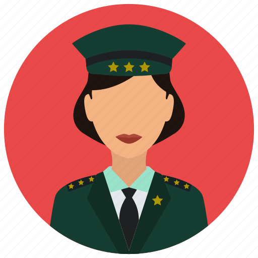 avatar, crime, military, officer, protection, woman icon