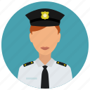 avatar, badge, crime, officer, protection, woman icon