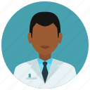 avatar, education, man, medical, medicine, science, tie icon