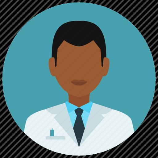 avatar, education, man, medical, medicine, science, tie icon