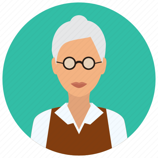 avatar, education, female, medical, old, science, woman icon