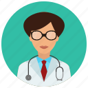 education, healthcare, medical, medicine, resident, science, woman icon