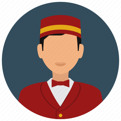 avatar, bellboy, bowtie, hat, services, uniform icon