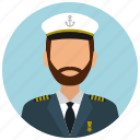 avatar, captain, hat, man, services, ship, tie icon