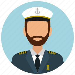avatar, captain, hat, man, services, ship, tie icon