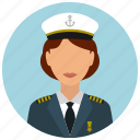 avatar, captain, hat, services, ship, tie, woman icon