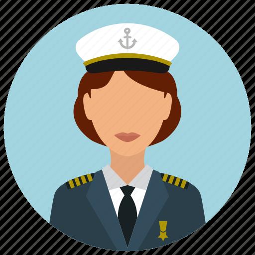 avatar, captain, hat, services, ship, tie, woman icon