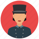 avatar, doorwoman, services, tophat, uniform icon