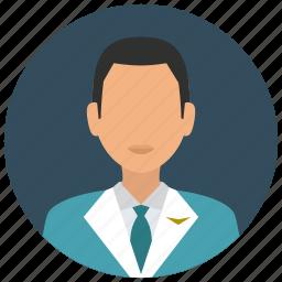 attendant, avatar, flight, jacket, man, services, tie icon