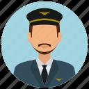 avatar, hat, man, mustache, pilot, services, tie icon