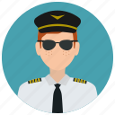 avatar, hat, man, pilot, services, sunglasses, tie icon