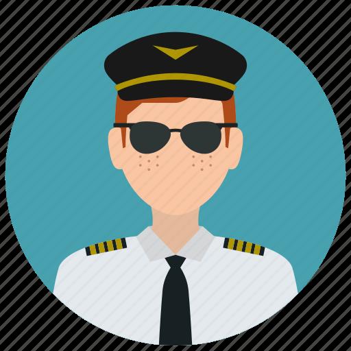 avatar, hat, man, pilot, services, sunglasses, tie icon
