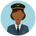 avatar, hat, jacket, pilot, services, tie, woman icon