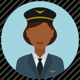 avatar, hat, jacket, pilot, services, tie, woman icon