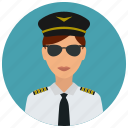 avatar, hat, pilot, services, sunglasses, tie, woman icon