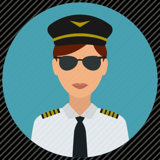 avatar, hat, pilot, services, sunglasses, tie, woman icon