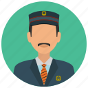 avatar, hat, man, services, station, tie, train icon