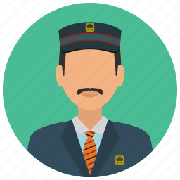 avatar, hat, man, services, station, tie, train icon