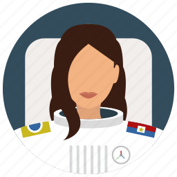 astronaut, avatar, services, space, uniform, woman icon